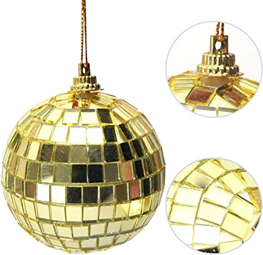 12 pcs 1.6 Inch Christmas Ball Mirror Party Gold Disco Ball Xmas Tree Ornament Decoration with Cosmos Fastening Strap