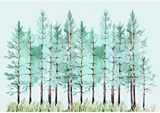 SUMGAR Large Wallpapers Living Room Modern Trees Wall Murals Bedroom Peel and Stick Panels Forest Green Pictures Self Adhesive Photos Home Decor Nursery Kids Room,100x144 inch