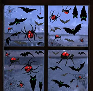 TMCCE 138 Piece Halloween Party Decorations Black Luminous Bats Spiders Window Clings Decals Stickers for Halloween Party ...