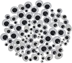 Asian Hobby Crafts Googly Moving Eyes (Black and White, Assorted) 100 Pieces