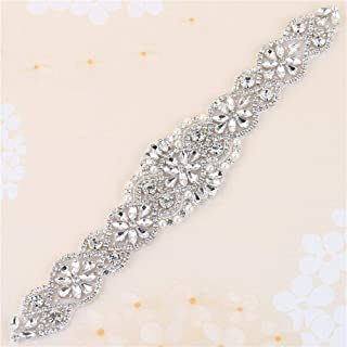 XINFANGXIU Sew Iron on Rhinestone Bridal Wedding Sash Crystal Belt Applique Antique Vintage Sparkly Bridesmaid Gown Womens Prom Formal Clothes Embellishments
