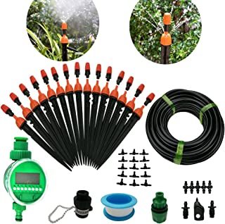 DIY 50FT Micro Drip Irrigation System with Hose Faucet Timer Dripper Sprinkler Plant Irrigation Kit Irrigation Pipe, Irrig...