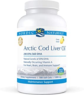 Nordic Naturals Pro Arctic Cod Liver Oil, Lemon - 180 Soft Gels - 750 mg Total Omega-3s with EPA & DHA - Heart & Brain Hea...