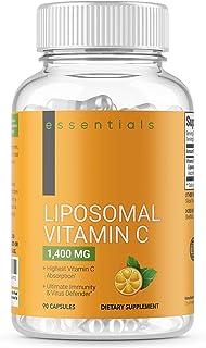 Essentials Liposomal Vitamin C 1400mg, 90 Capsules - High Absorption Ascorbic Acid, Immune System Support, Collagen Booste...