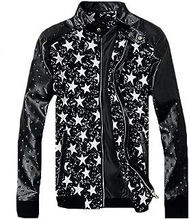 Wilton Marti Fashion Men's Casual Spliced Star Print Slim Pu-Leather Moto Jacket
