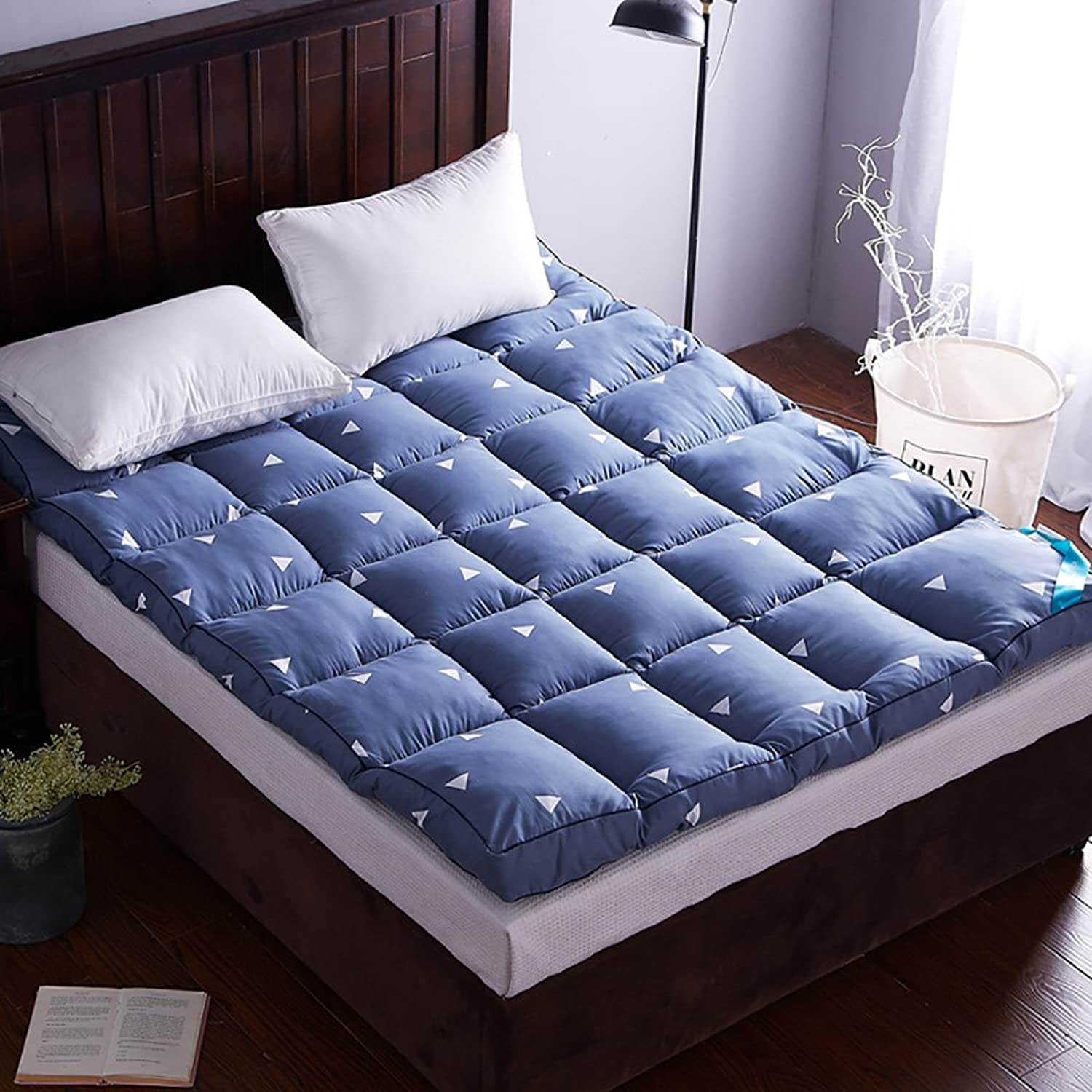 DULPLAY Non-Slip Tatami Foldable Mattress beds,Mattress Breathable Bed Cover,10cm thickn Warm Double Student Mattress Predectors -bluee 150x200cm(59x79inch)