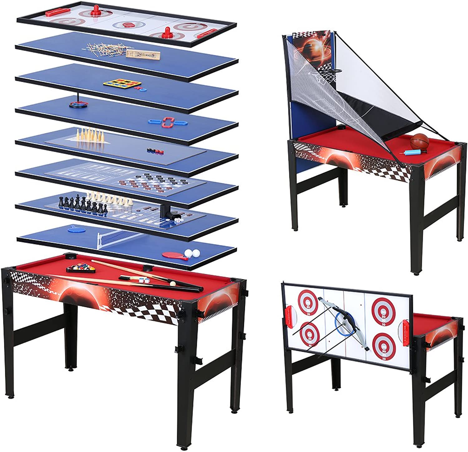 14 in 1 Multi Game Table Basketball Pool Hockey Ping Pong Table Bowling Chess