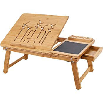 SONGMICS Table de lit pliable, en Bambou, Table pour