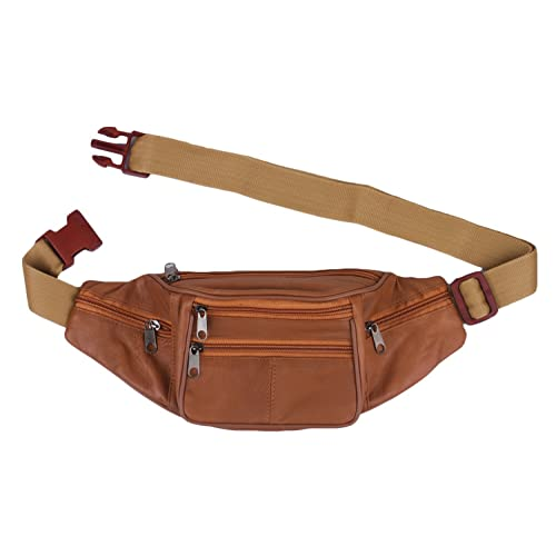 K London Stylish Real Leather Tan Waist Bag Elegant Style Travel Pouch Passport Holder with Adjustable Strap(1452_Tann)