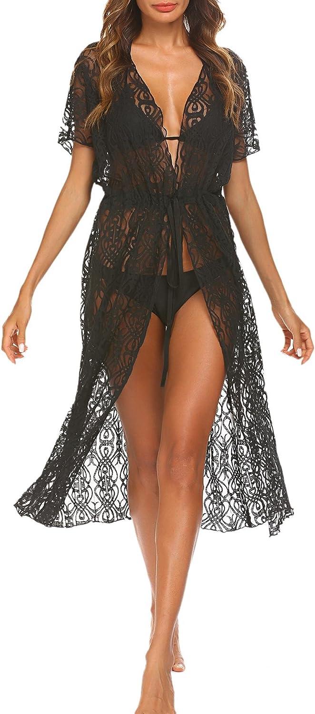 BEAUTEINE Womens Sexy Sheer Lace Bikini Coverup Floral Long Maxi Beach Dress