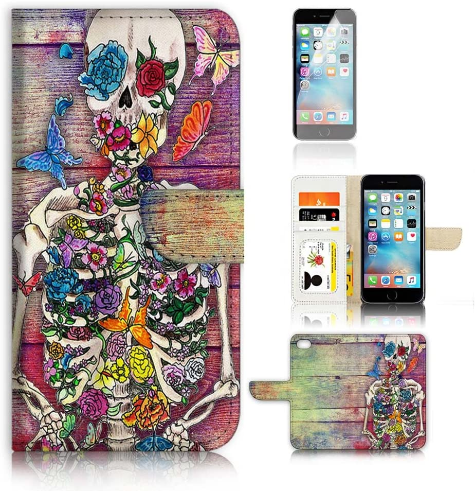 ( For iPhone 8 / iPhone 7 ) Flip Wallet Case Cover and Screen Protector Bundle A20325 Sugar Skull Skeleton