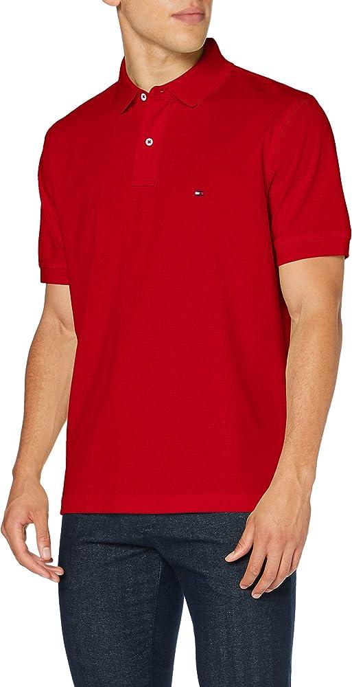Tommy hilfiger polo,maglietta per uomo a maniche corte,100% cotone MW0MW04119C