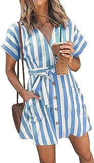 OEUVRE Women V Neck Short Sleeve Wrap Tie Waist Button Front Shirt Dress Striped Dress with Pocket