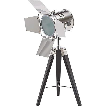 BRUBAKER - Lampadaire/Lampe sur pied - Design industriel - Hauteur 65 cm - Trépied en Bois/Noir - Spot en Métal/Chromé