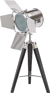 BRUBAKER Lámpara de pie - diseño Industrial - altura 65 cm - patas de trípode de madera negro - faro de cromado