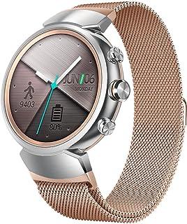 Kartice Compatible ASUS Zen Watch 3バンド 交換ベルト マグネット式 ステンレス製 高品質バンド 通気性 耐久性 丈夫for ASUS Zen Watch 3 (ローズゴールド)