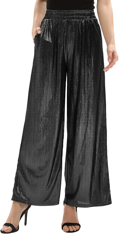GRACE KARIN Women's Casual Loose Elastic Shiny Pocket Wide Leg Pants Trousers