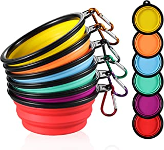 ME.FAN Collapsible Dog Bowl [6-Pack] Travel Portable Dog Bowl(12oz) Silicone Foldable Travel Bowl/Pet Food Bowl/Cat Water Bowl/Silicone Pet Expandable Bowls + 6 Carabiners Per Set
