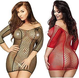 LOVELYBOBO Babydoll Lingerie Donne Chemise Costume Negligrees per Nuova Moda Design Pigiama Taglia Grossa (Nero+Rosso)