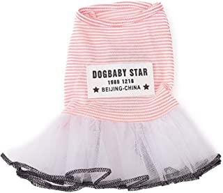 Pet Heroic Puppy Dog Cat Dress Summer Dog Puppy Basic Dresses Vest Shirts Clothes Pink Grey Strips Colors Appeals Only for Small Dogs Cats Puppy Girl Females - Weight 1.5-13.2 pounds