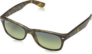RAY-BAN RB2132 New Wayfarer Polarized Sunglasses, Matte Havana/Polarized Green Gradient, 52 mm