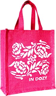 INDOZY Jute Bag for Lunch Tiffin & Gifting   for Men Women Girl boy Kid Office Daily use Handbag   with Zip & 2 Inside Poc...