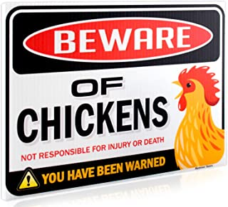 Bigtime Signs Beware of Chickens Warning Sign – 9 inches x 12 inches – Danger..