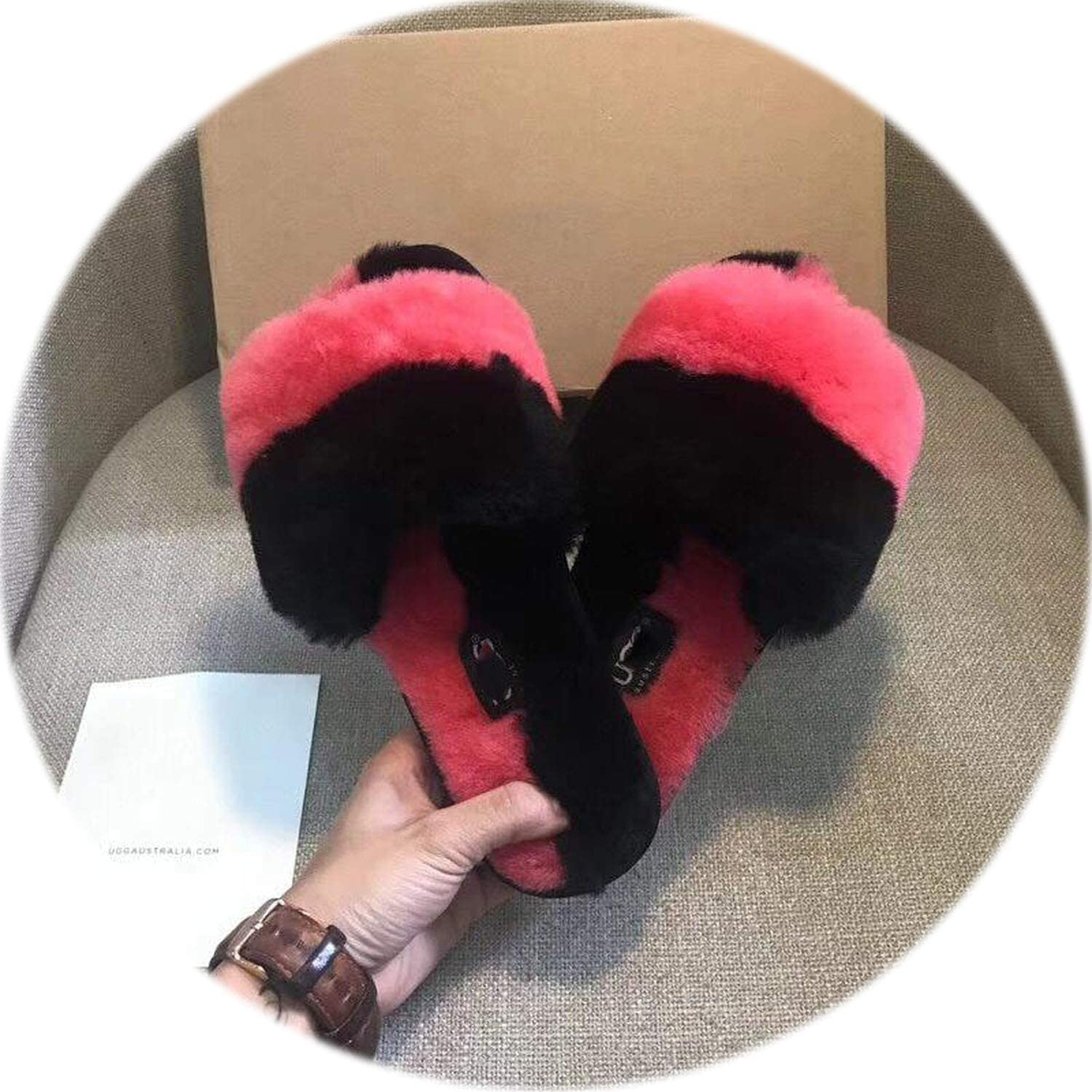 Sexy Spell color Fur Slippers 2018 Top Warm Wool House Slippers Winter Comfortable Women Flats Indoor Slippers Casual House shoes,Red,8.5