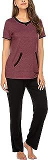 Pajama Set Women's Long Sleeve Pocket Sleepwear Soft Pj Set Loungewear S-XXL