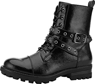 Yolanda Zula Black Combat Boots for Women Fashion Low Heel Booties Lace Up & Zipper Closure