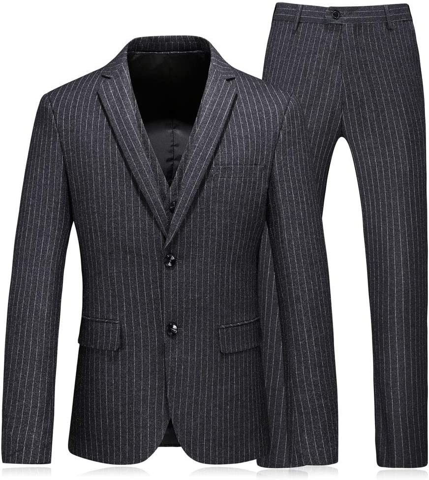 WCNMD Men's Striped Business Three-Piece Suits Party Rapid rise Rare