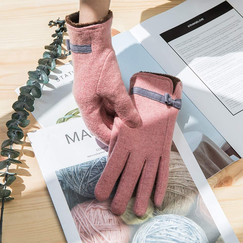 Rebily Autumn and Winter Ladies Gloves Butterfly Knot Wool Blend Plus Velvet Thicken Touch Screen Keep Warm Cold Protection One Size Full Finger Gloves