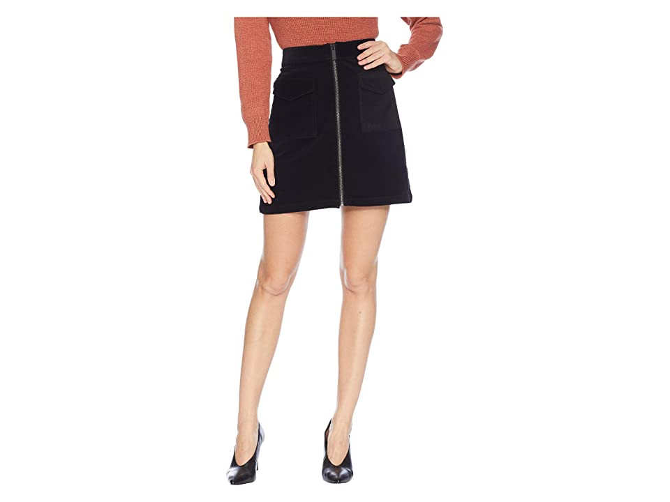 TWO by Vince Camuto Washed Corduroy Two-Pocket Zip Skirt (Rich Black) Women
