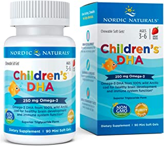 Nordic Naturals - Children's DHA, Healthy Cognitive Development and Immune Function, 90 Count, 225 mg soft gels, omega-3