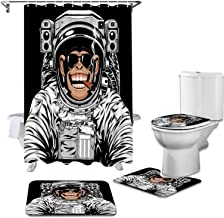 Artsbay Funny Monkey Black Shower Curtain Sets with Non-Slip Rugs Toilet Lid Cover Bath Mat for Kids Astronaut Chimpanzee ...
