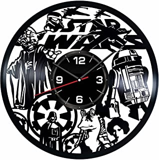 Star Wars Wall Clock Made of Vintage Vinyl Records - Stylish Clock and Amazing Gifts Idea – Unique Home Decor – Personalized Presents for Men Women Kids – Living Room Bedroom Art – Handmade 12 Inches