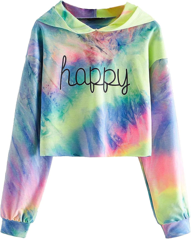 felwors Womens Crop Tops Hoodies, Womens Casual Loose Long Sleeve Workout Sweatshirt Hoodies Tie Dye Pullover Tops