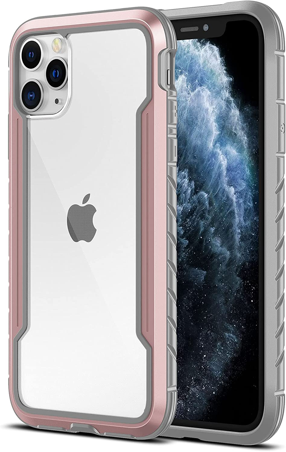 MRYUESG for iPhone 11-Pro Max Case, Aluminum Alloy Frame, Clear Hard Back, Silicone Soft Bumper, Military Grade Shock-Proof, Heavy Duty Protective Phone Cover, for iPhone-11 Pro-Max Cases, Rose Gold