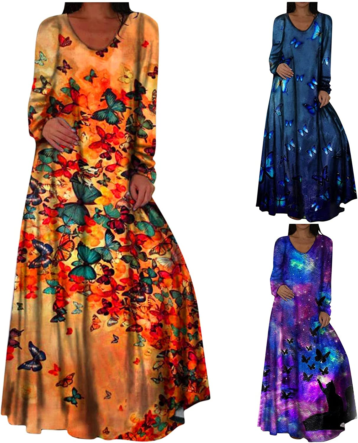 Long Dresses for Women Party Plus Size Classic Hide Tummy Autumn Long Sleeve Sundress Polyester
