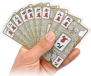 青と白の磁器のクリスタル飛行ドラゴンパターン麻雀ポーカーチップコインフルプラスチックミニ旅行カードセットプラスチックボックス (Color : A)