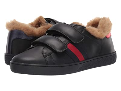 Gucci Kids New Ace Faux Fur Sneaker (Little Kid/Big Kid) (Nero/Nero) Kids Shoes