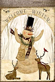 Welcome Winter Snowman Cardinal Deer Decorative Garden Flag, Double Sided, 12