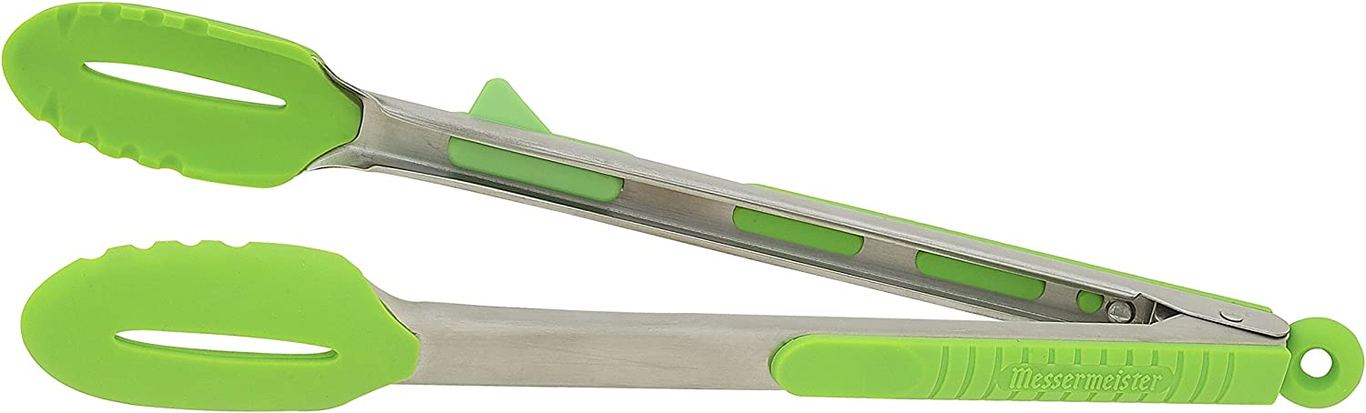 Messermeister Meister Silicone Locking Tongs with Footrest 12-Inch Green