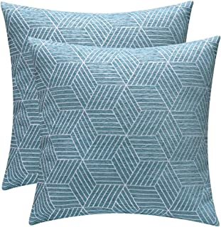 Decorative Throw Pillow Covers Cushion Covers 18 X 18 for Couch Bedroom Car Throw Pillow Cases Protectors 100% Cotton Pack of 2 Square Home Decor Design Set Cushion Case (Blue, 18 X 18 inches)
