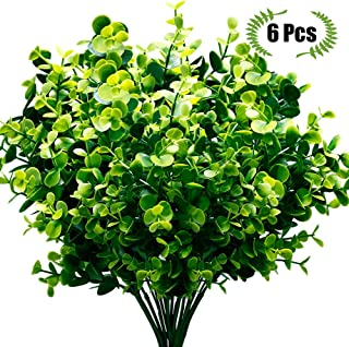 TEMCHY Artificial Plants Faux Boxwood Shrubs 6 Pack, Lifelike Fake Greenery Foliage with 42 Stems for Garden, Patio Yard, Wedding, Office and Farmhouse Indoor Outdoor Decor