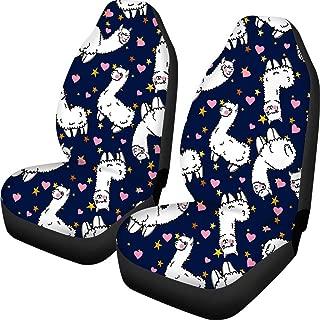 HUGS IDEA Kawaii Cartoon Llama Pattern Car Seat Covers 2 Pcs Universal Fit Front Car Interior Seat Protectors Polyester Fabric Cushion