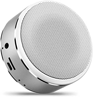 Metal Bluetooth Speaker Portable Card Speaker Mini Wireless Subwoofer Stereo Outdoor Bluetooth Speaker for Mobile Laptop,Silver