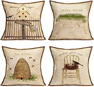 Vintage Animal Pillow Covers Rustic Wood Background Farmer's Market Fresh Rooster Pig Goat Cotton Linen Throw Pillow Case ...
