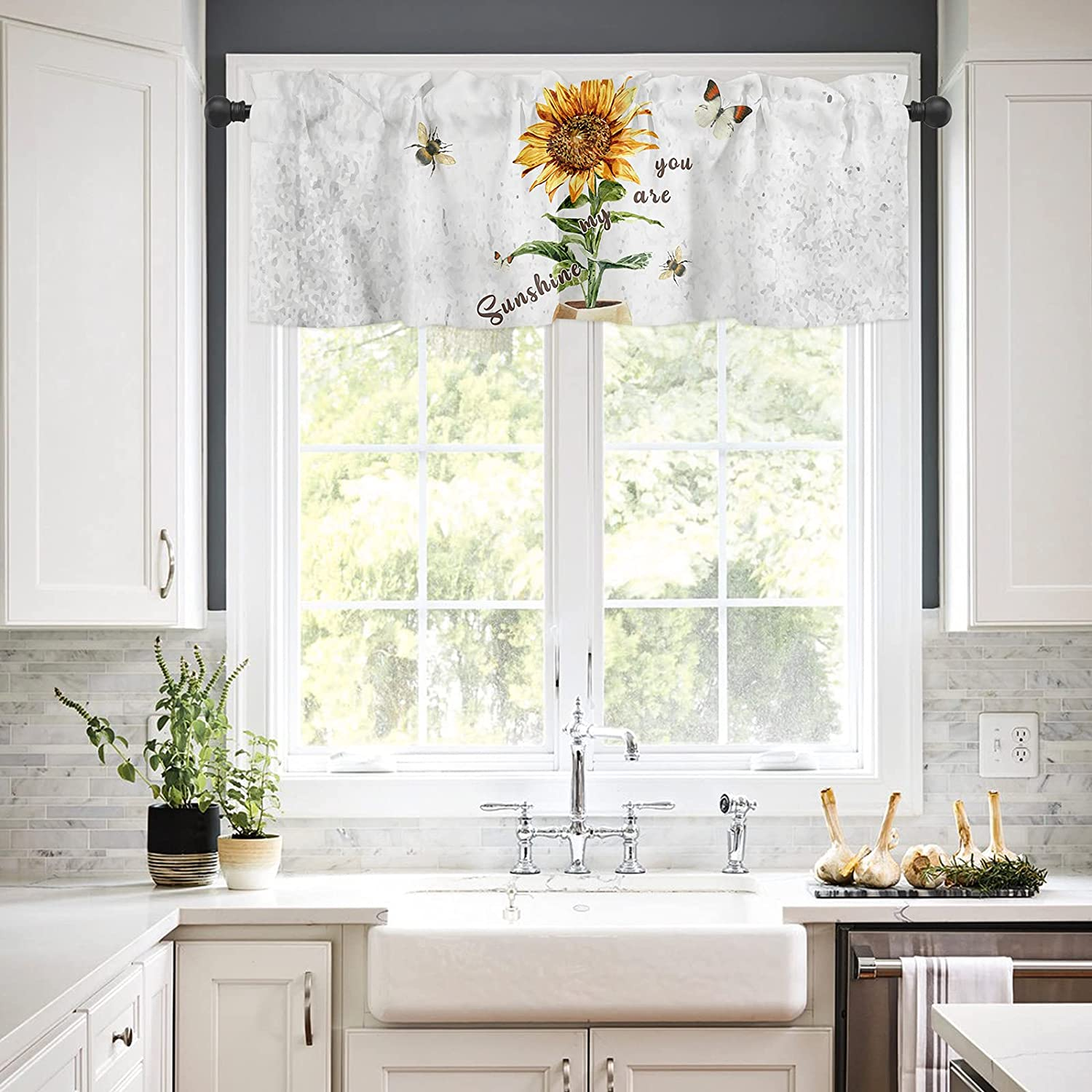 Rod Pocket Window Valances Curtains for Gifts You are Sunsh My Kitchen Safety and trust