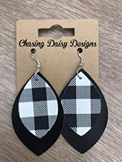 Double Layer Black & White Plaid Earrings